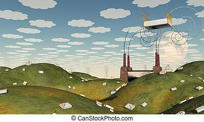 fantasie, Bett, landschaftsbild