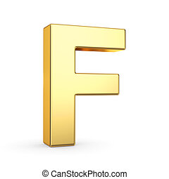 Golden letter on white
