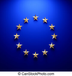 European union flag on wall under light - European union...