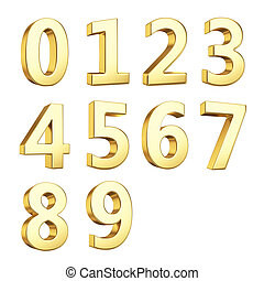 Golden 3D numbers - 3D numbers isolated with clipping path...