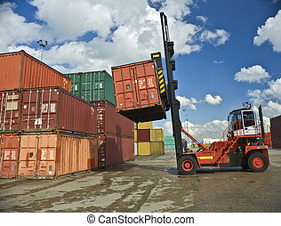 containers staking - containers forklift at work