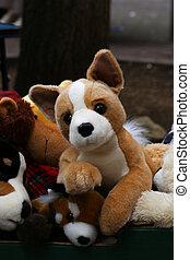 Old Cuddly Dog Toys - Old cuddly dog, bar, fox toys in box...