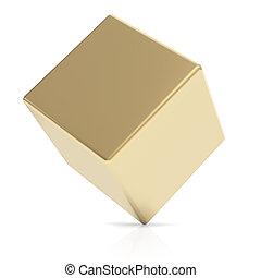 Golden 3D cube on white