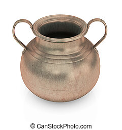 Bronze pot isolated on white - Bronze Pot isolated with...