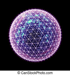 Abstract 3D cyberspace ball - Abstract 3d global network...