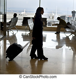 traveling - woman traveler in the airport