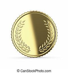 em branco, dourado, medalha