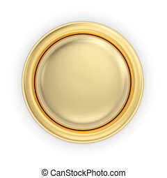 Golden button on white - Golden 3D button on white isolated...