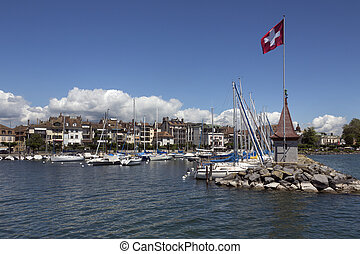 Morges - Switzerland - The harbor in the town of Morges on...