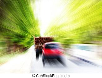 muy, vehículos, alto, automóviles, Mudanza, velocidad, o, carretera