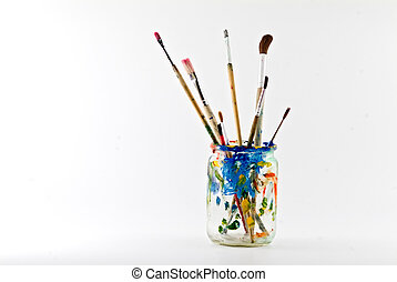 artist brushes - artists brushes in a jar isolated on white