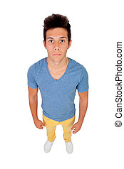 Funny top view of a casual boy - Funny top view of a boy...