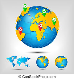 World map Globe Earth Planet Vector Illustration