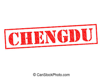 CHENGDU Rubber Stamp over a white background