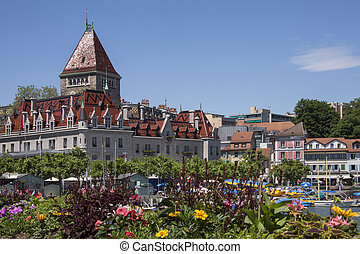 Chateau d'Ouchy - Lake Geneve - Switzerland. - Chateau...