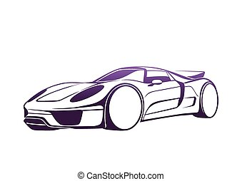 Super purple auto - Sport automobile logo