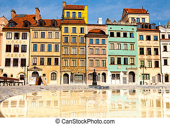 Morning in Warsaw - Reflecting surface of fountain and...