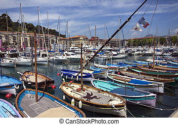 Nice - Cote d'Azur - South of France. - The harbor in the...