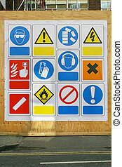 Safety signs - Construction site health and safety signs and...
