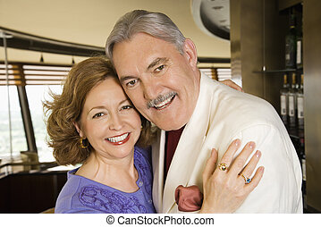 Mature couple embracing. - Portrait of mature Caucasian...