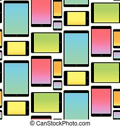 Seamless Pattern made with Mobile Devices colorful - Pattern...