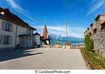Inner yard of Oberhofen with flag