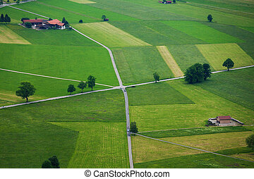Roads and fields from top - Areal photograph of read...
