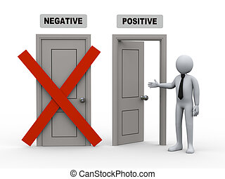 3d person and negative - positive doors - 3d illustration of...