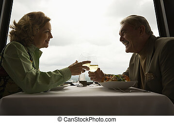 Mature couple at dinner - Caucasian mature couple at nice...