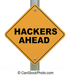 3d road sign hackers ahead - 3d illustration of yellow...