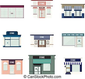 Flat 3D Stores - Vector cartoon illustration of flat 3d...