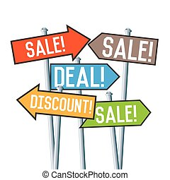 Sale Discount Deal Signs - Vector illustration of several...