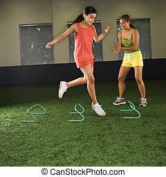 Girl fitness training.