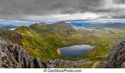 Panoramic view of Scottish highlands, mountains in Loch Assynt