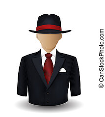 Mobster avatar on white background
