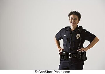 sonriente, mujer policía