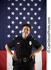 Woman police officer. - Portrait of mid adult Caucasian...