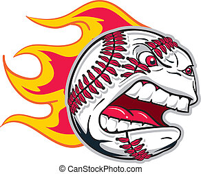 angry baseball - Angry flaming screaming baseball