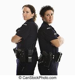 Mujeres policías, espalda, espalda