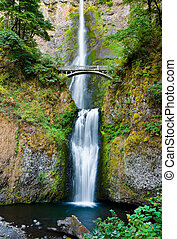 Multnomah Falls and bridge in the Columbia River Gorge,...