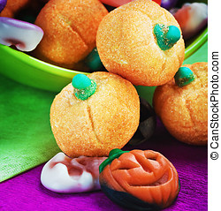 candy and pumpkin souffle of a holiday Halloween
