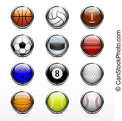 Sports balls icon - Sports balls 12 high-quality glossy...