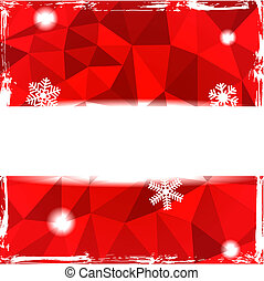 Red triangle grunge christmas backg