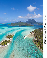 bora bora from helicopter - view from helicopter at...