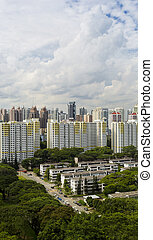 Estate - A high angle view of a low rise old residental...