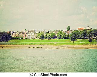 Retro look River Rhein - Vintage looking View of river Rhein...