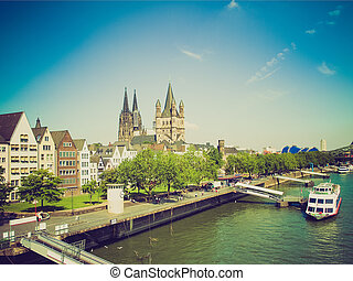 Retro look Koeln panorama - Vintage looking Koeln (Germany)...