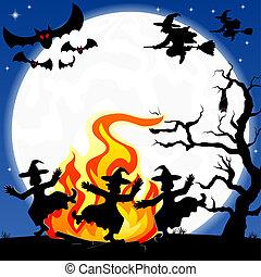 bruxas, Dançar, ao redor, fogo, dia das bruxas