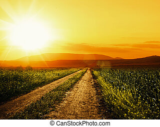 Road to sun. Abstract environmental backgrounds for your design