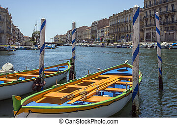 Town of Sete - South of France - The Canal Royal in the...